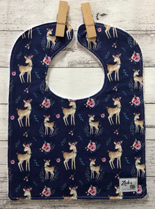 Navy deer Feeding Bib