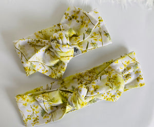 Yellow wattle Top Knot Headband Mummy & Me set