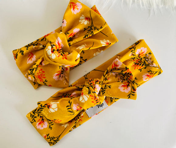 Mustard flowers Top Knot Headband Mummy & Me set