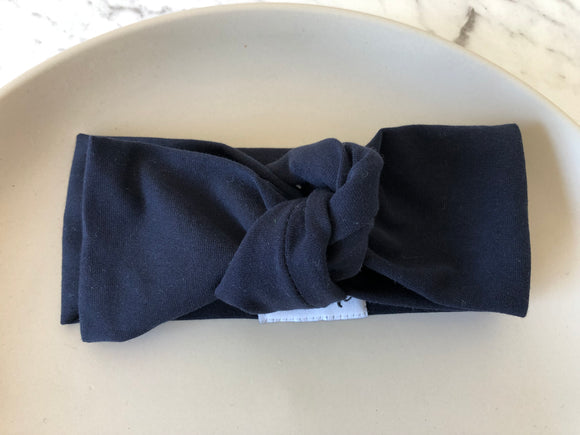 Solid Navy Top Knot Headband