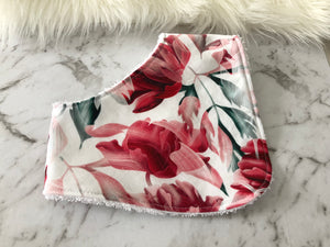 Red Floral Dribble Bib