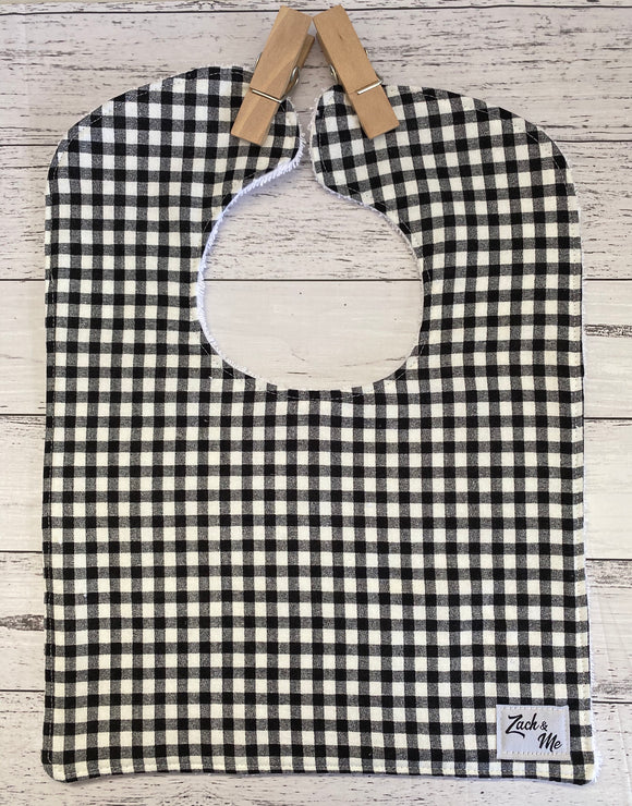 Black & white check Feeding Bib
