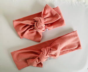 Flamingo pink Top Knot Headband Mummy & Me set