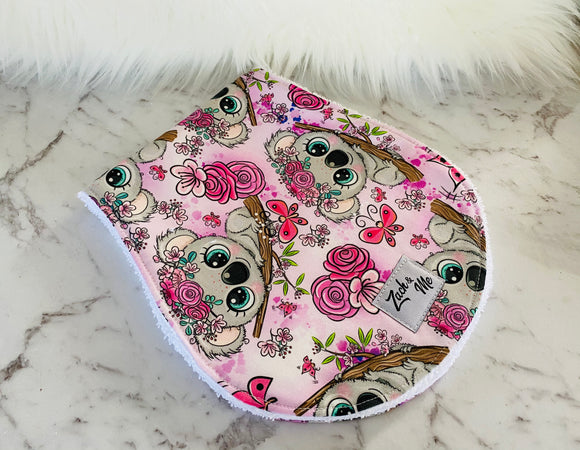Koala pink flower Burp Cloth