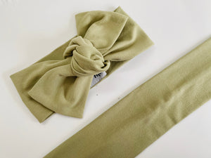 Olive green solid Top Knot Headband