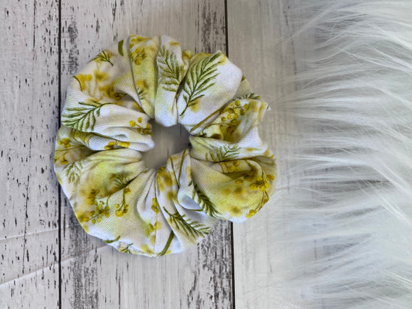 Mini yellow wattle scrunchie