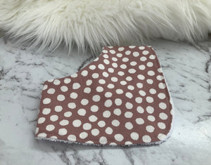 Blush white spot Dribble Bib