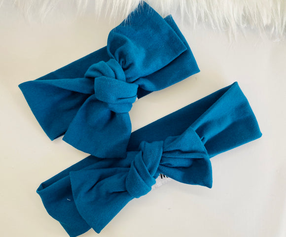 Teal blue Top Knot Headband Mummy & Me set