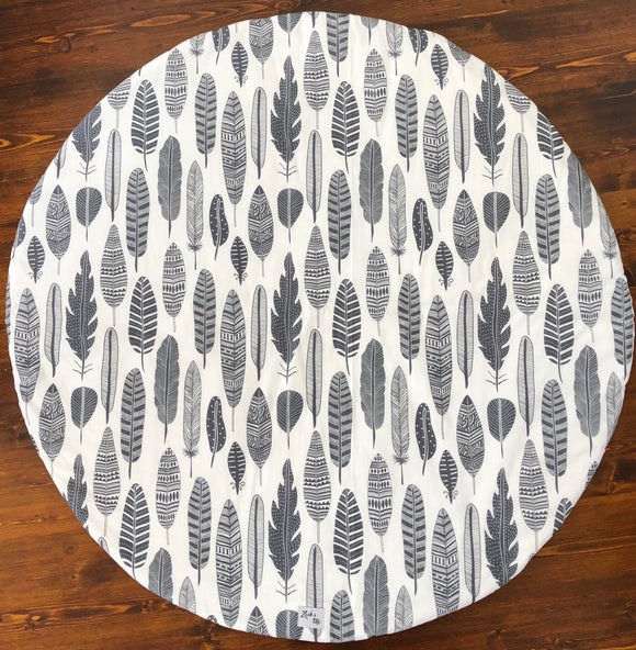 Grey & White feather Reversible Playmat