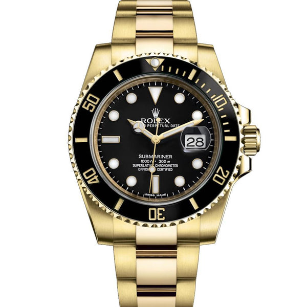 ROLEX SUBMARINER YELLOW GOLD BLACK DIAL 8987