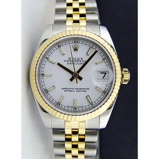 Rolex Date Just Gold Silver White Dial 8897 WOMEN
