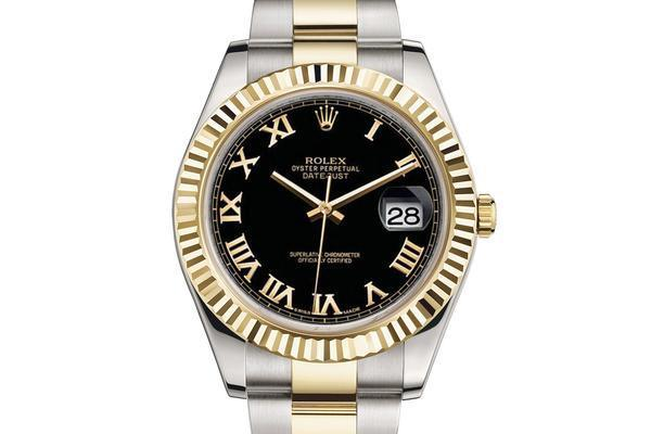 Rolex Gold Black Dial Roman Numeral Markers WOMEN