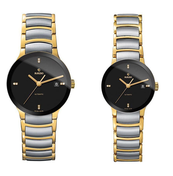 RADO CENTRIX GOLD SILVER BLACK DIAL 5477 COUPLE