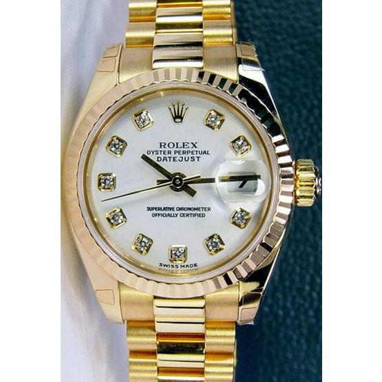 New Rolex lady datejust president yellow gold white diamond dial WOMEN
