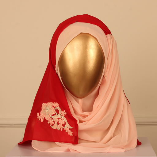 PERDA SCARF PLAIN WITH PLEETS-PINK/RED