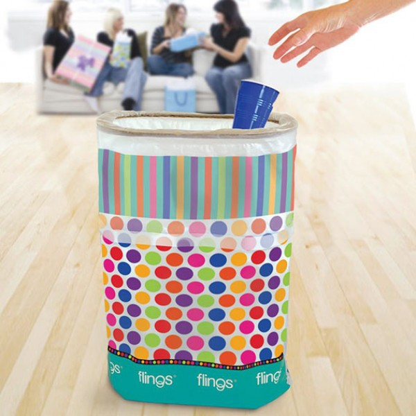 Flings |Pop-Up Disposable Trash Bin |Dots and Stripes