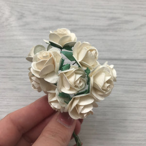 Mulberry Paper Flowers Ivory Open Roses
