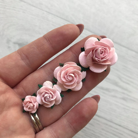 Mulberry Paper Flowers Pink Mist Open Roses