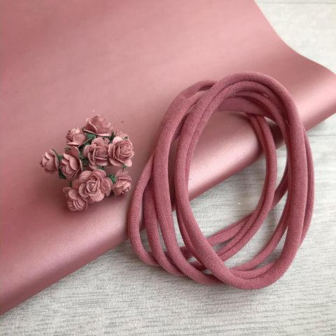 Dusky Pink Bundle Nylon Headband & Mulberry Roses