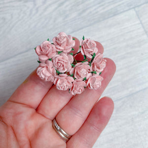 Mulberry Paper Flowers Rose Pink Open Roses