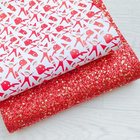 Santa's Little Helper Duo Glitter & Leatherette Red