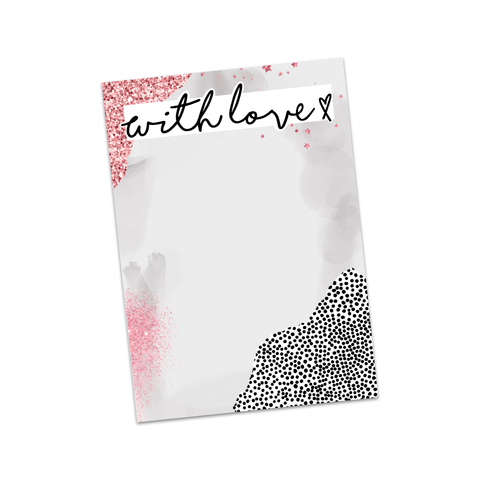 With Love pink & Grey Bow Display Cards