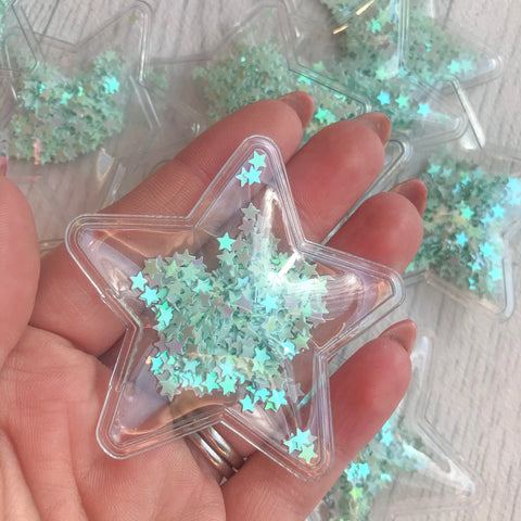 Shaker Sequin Filled Stars Mint
