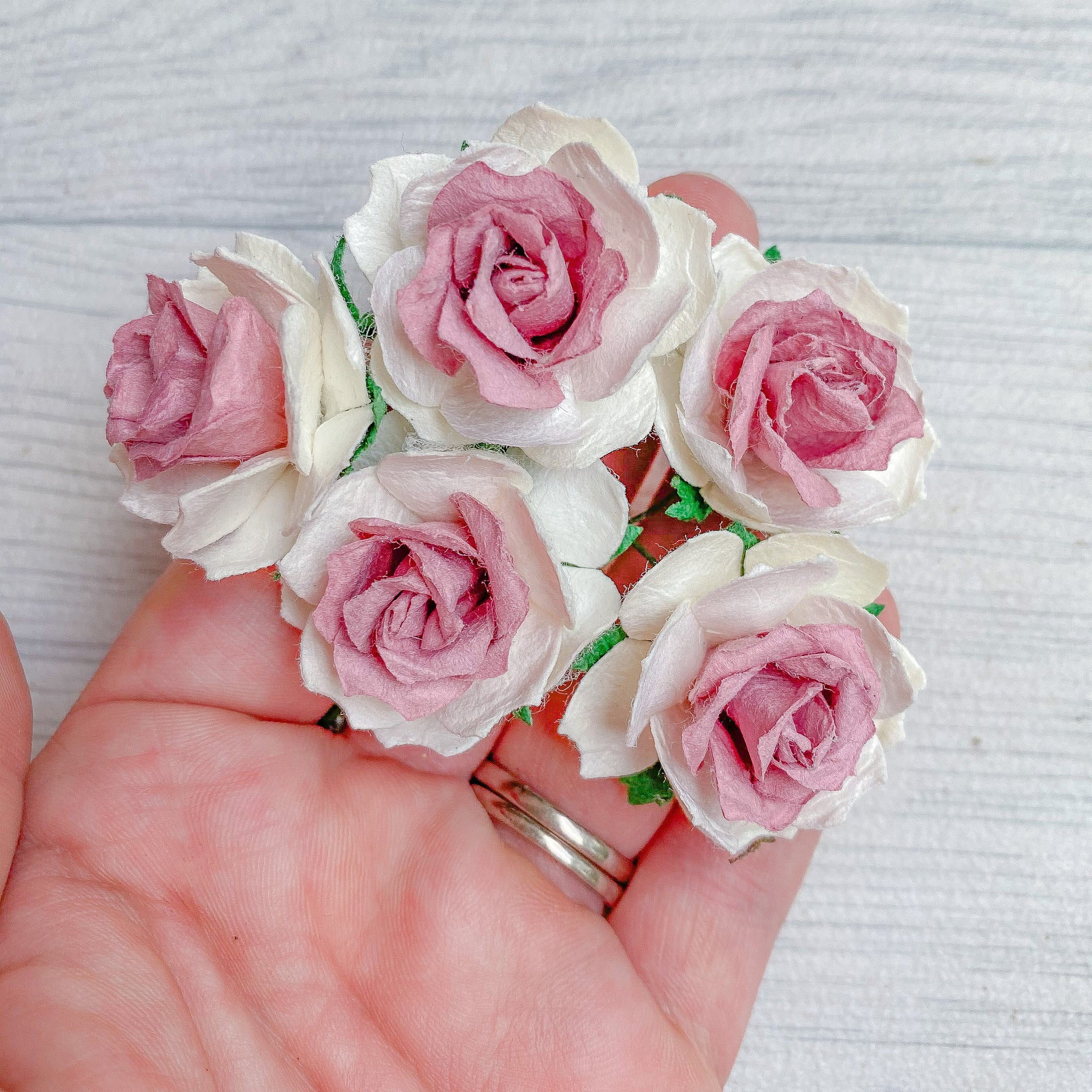 Mulberry Wild Rose White & Pink Ombre 30mm (10)