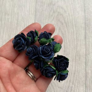 Mulberry Paper Flowers Navy Open Roses