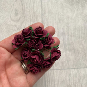 Mulberry Paper Flowers burgundy Open Roses