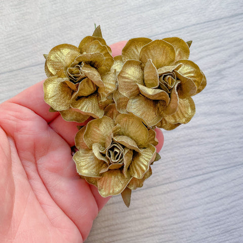 Metallic Gold Country Rose Mulberry Flowers 50mm (5)