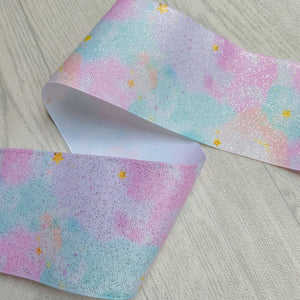 Watercolour Pastel Glitter 3 Inch Ribbon 1 Metre Lengths