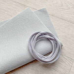 Silver Fox 100% Merino Wool Felt 1 Sheet With 5 Light Grey Nylon Headbands