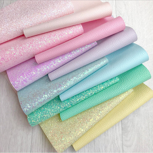 Rainbow Pastel Glitter Leatherette Bundle