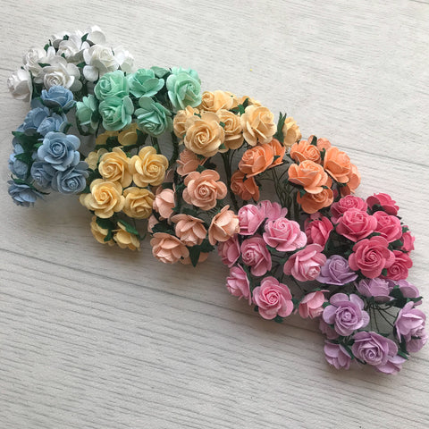 Mulberry Paper Flowers 20mm Open Roses Rainbow Pack