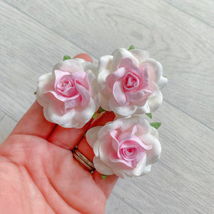 Pink White Colour Fade Wonderlust Rose Mulberry Flowers 50mm (5)