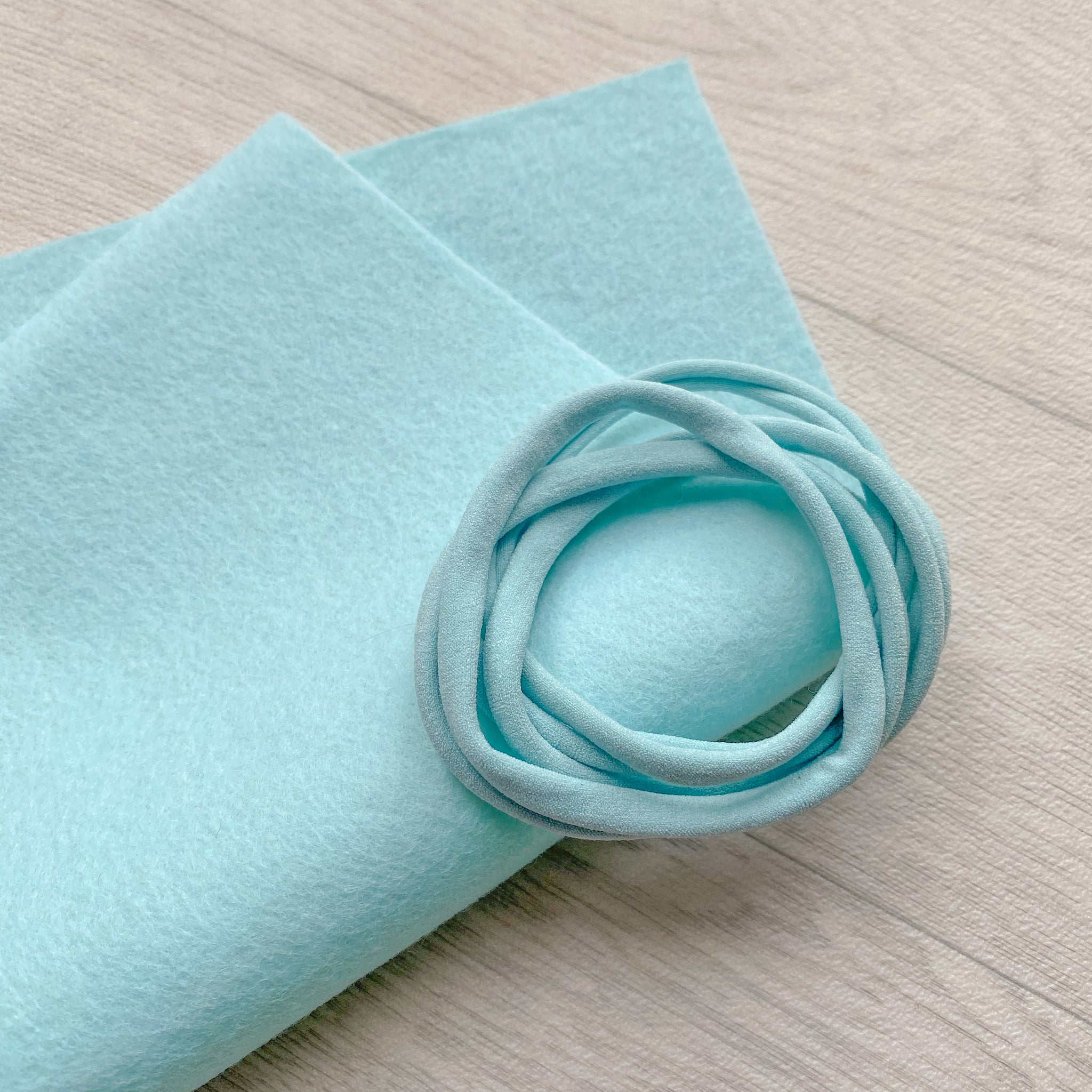 Mint Green 100% Merino Wool Felt 1 sheet With 5 Mint Nylon Headbands