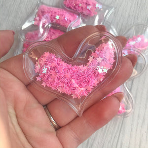 Shaker Sequins Filled Hearts Hot Pink