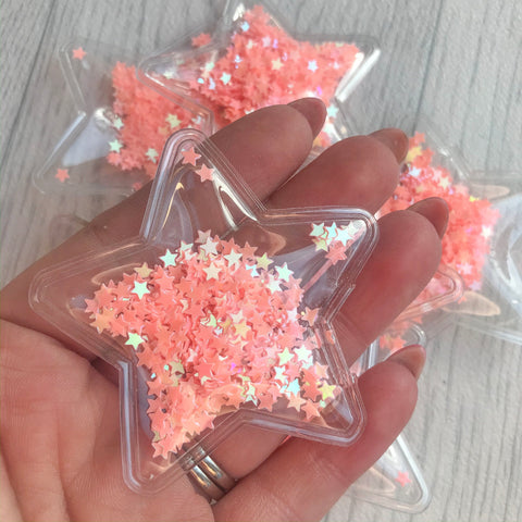 Shaker Sequins Filled Stars Peach