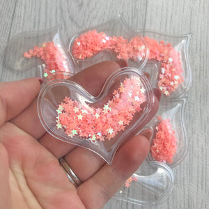 Shaker Sequins Filled Hearts Peach