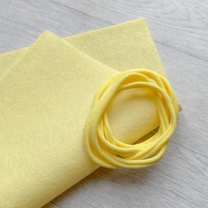 Pale Lemon 100% Merino Wool Felt 1 sheet With 5 Lemon Nylon Headbands