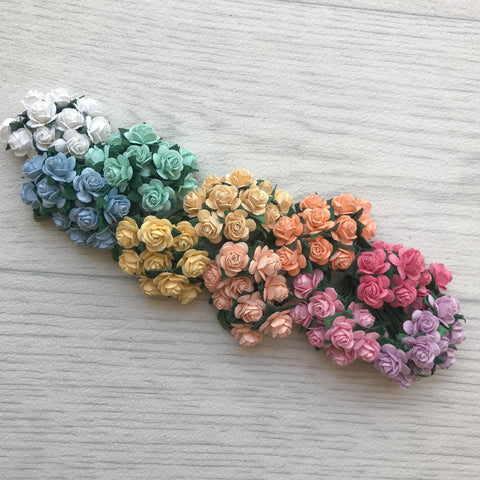 Mulberry Paper Flowers 10mm Open Roses Rainbow Pack