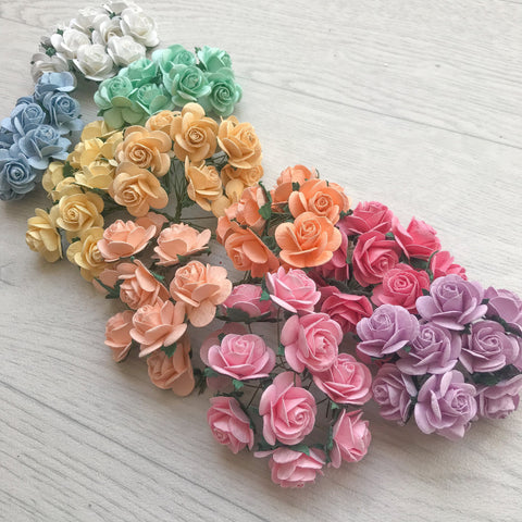 Mulberry Paper Flowers 25mm Open Roses Rainbow Pack