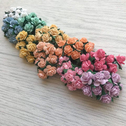 Mulberry Paper Flowers 15mm Open Roses Rainbow Pack
