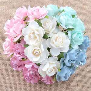 Mulberry Paper Flowers 30mm Wild Roses Pastel Pack