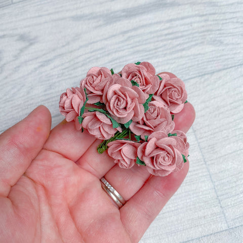 Mulberry Paper Flowers Dusky Pink Open Roses