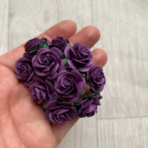 Mulberry Paper Flowers Purple Open Roses