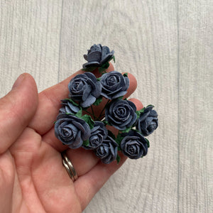 Mulberry Paper Flowers Palma Grey Open Roses