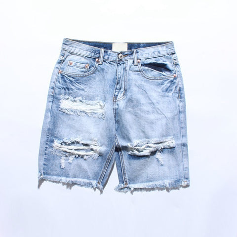 Denim Destroyed Shorts Men