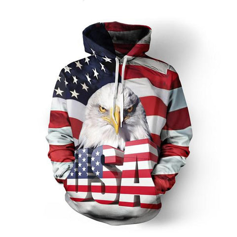 Men/Women USA Flag Eagle 3D Hoodies Pullovers